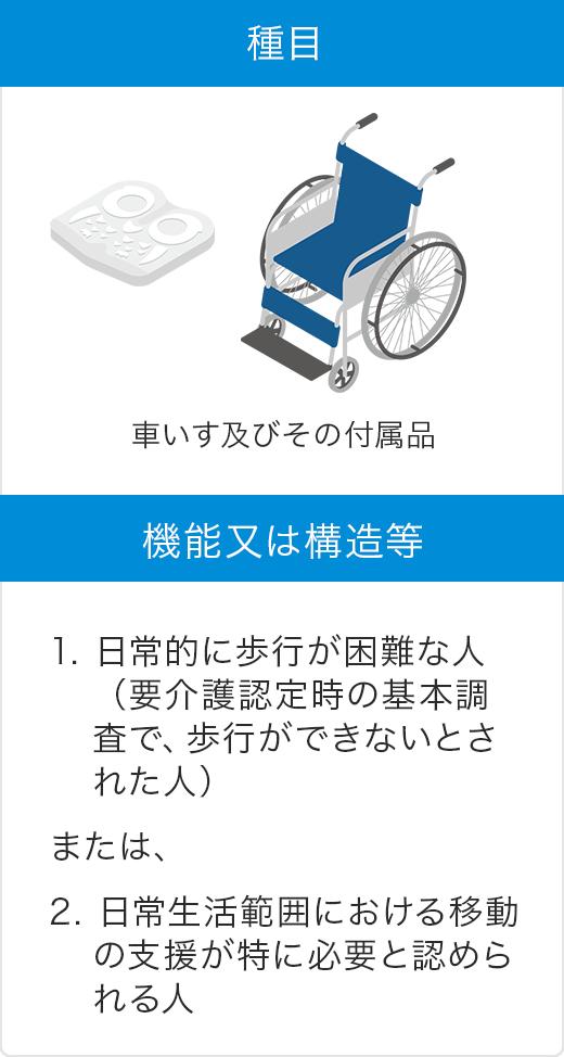 表 種目:車いす及びその付属品 機能又は構造等 1. 日常的に歩行が困難な人(要介護認定時の基本調査で、歩行ができないとされた人)または、2. 日常生活範囲における移動の支援が特に必要と認められる人